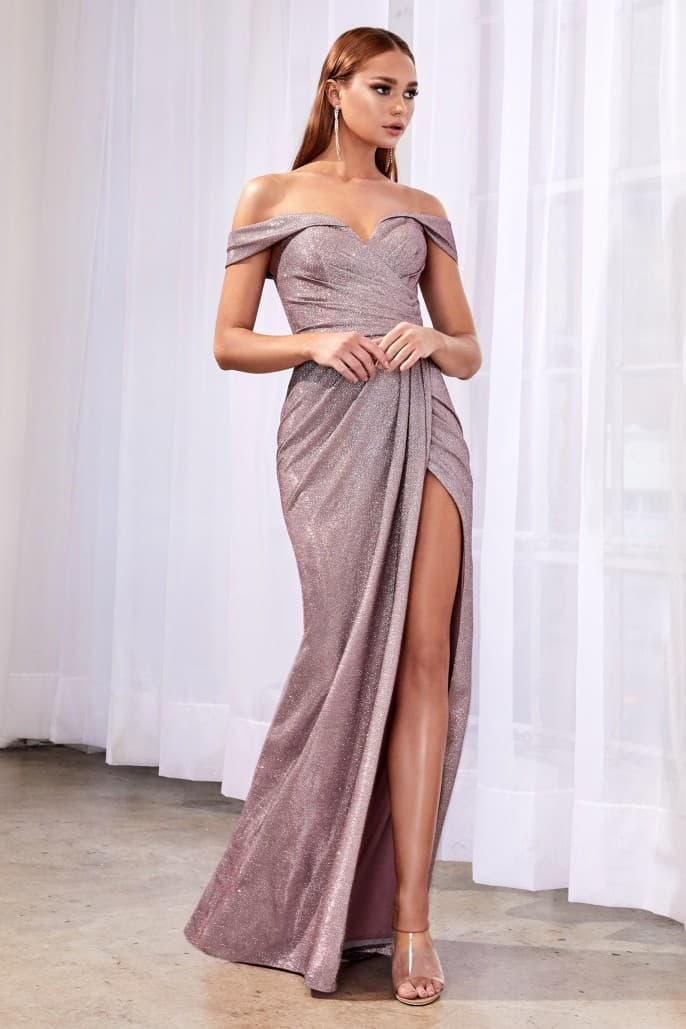 Off the shoulder metallic gown with sweetheart neckline and leg slit - KC Haute Couture Wedding Dress
