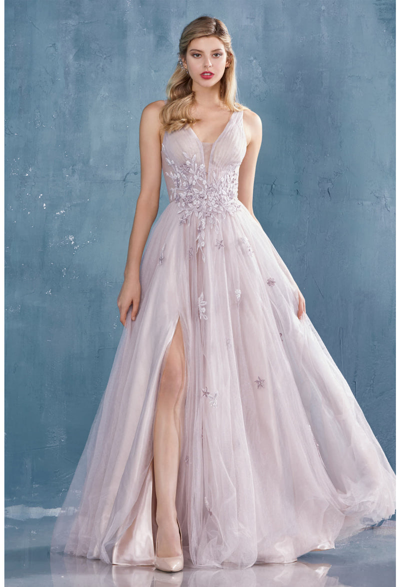 CHLOE GOWN WISTERIA LACE V-NECK TULLE A-LINE WEDDING DRESS - KC Haute Couture Wedding Dress