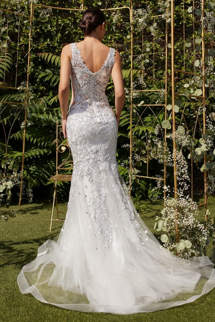 Renee wedding dress novelty lace with metallic thread with dramatic mermaid tail - KC Haute Couture Wedding Dress