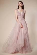 CHARLOTTE TRICKLE BEADING SOFT BALL GOWN - KC Haute Couture Wedding Dress