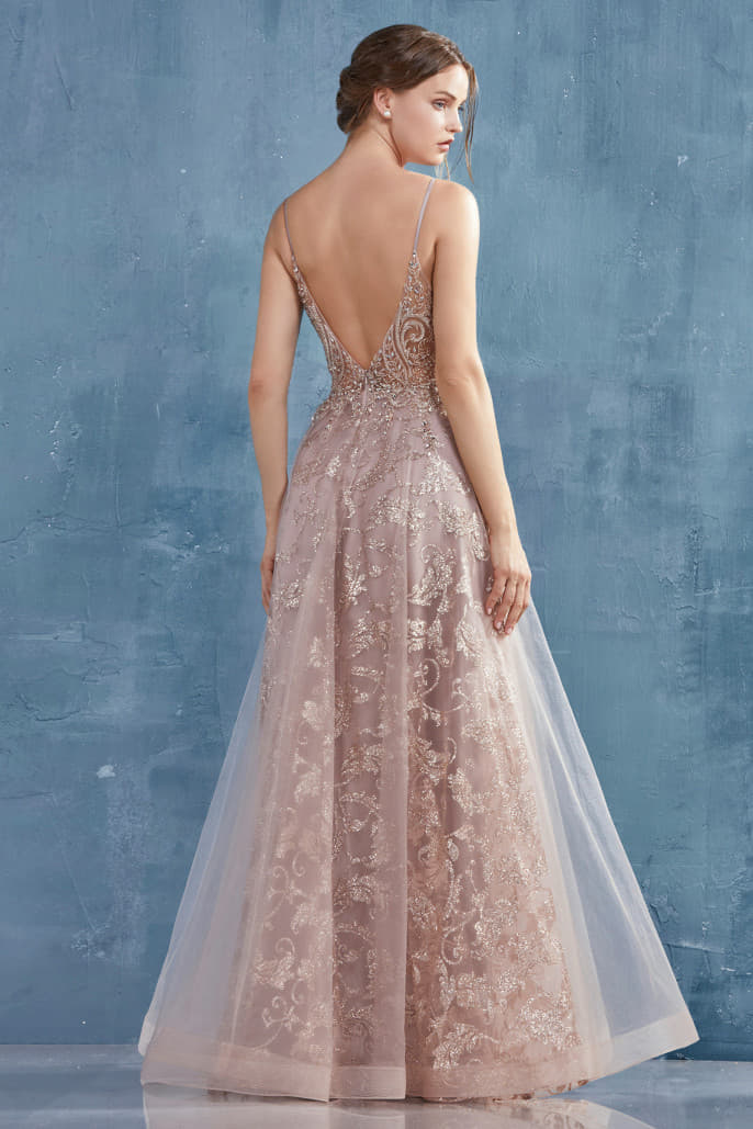 ARIANNA GOWN ROCOCO BEADED GLITTER A-LINE GOWN. BACK ZIPPER CLOSURE - KC Haute Couture Wedding Dress