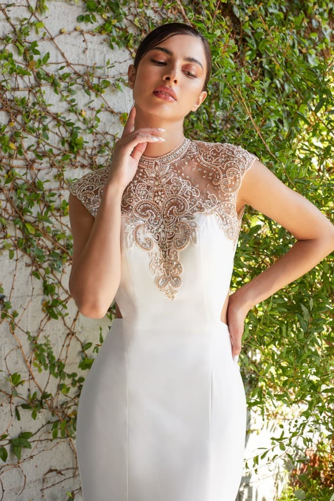 Nicole Beaded Stretch Knit Sheath wedding Dress, breathtaking - KC Haute Couture Wedding Dress