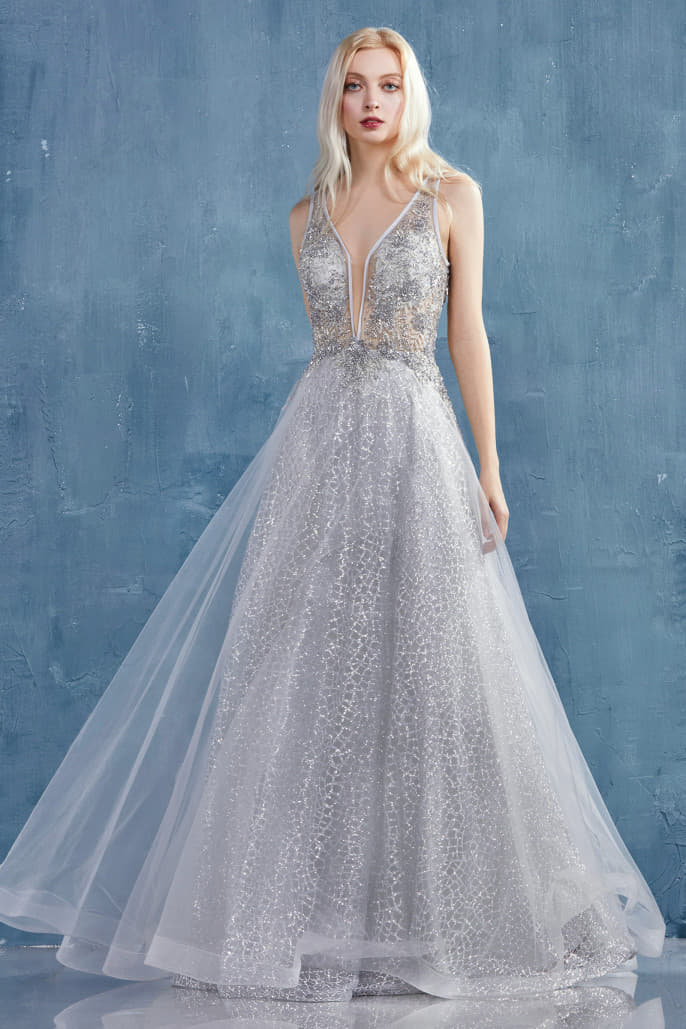 VALENCIA ROMANTIC VESPERTINE BEADED V-NECKLINE A-LINE GOWN - KC Haute Couture Wedding Dress
