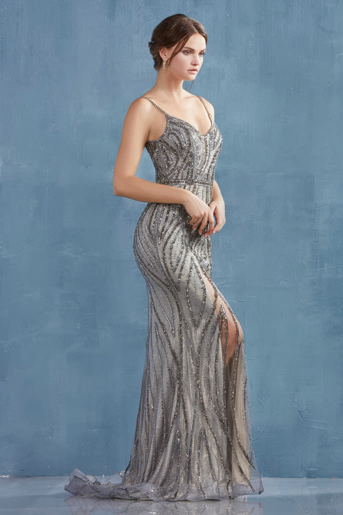 ALEXA GOWN FLAME CRYSTAL EMBELLISHED FIT AND FLARE GOWN - KC Haute Couture Wedding Dress