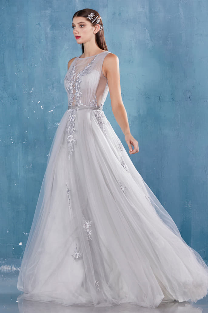 KADY GATHERED TULLE & LACE APPLIQUED A-LINE EVENING GOWN - KC Haute Couture Wedding Dress