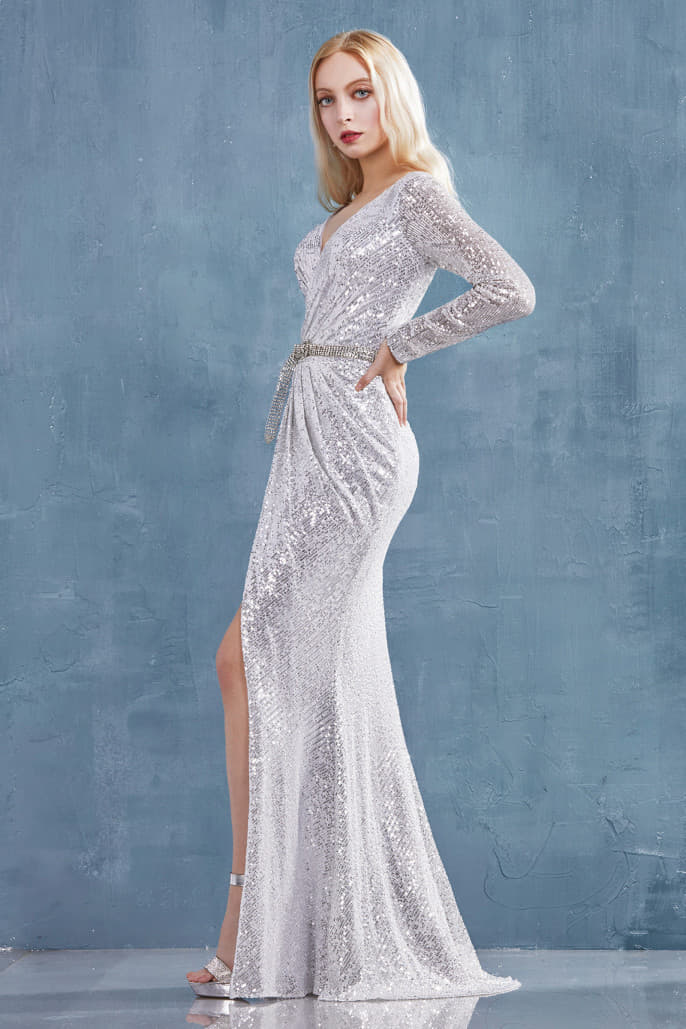 LYDIA GOWN LONG SLEEVED RUCHED SEQUINED SHEATH GOWN WITH BUCKLE BELT AND SLIT - KC Haute Couture Wedding Dress