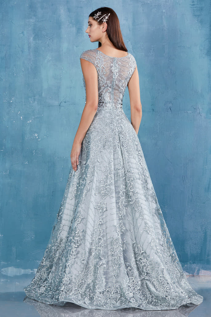 CASSIE GOWN INTRICATE BATEAU NECKLINE BEADED LACE BALLGOWN - KC Haute Couture Wedding Dress