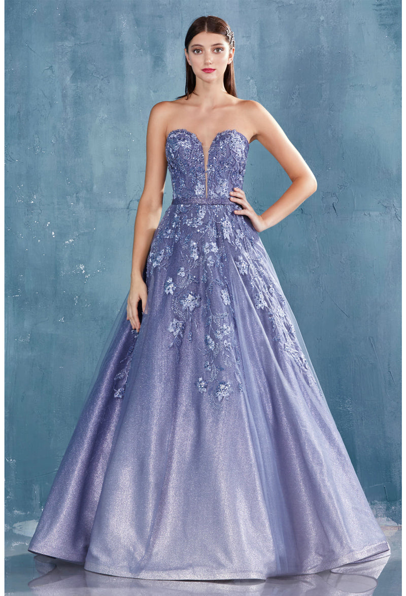 AMALIA GOWN STRAPLESS OMBRE GLITTER AND LACE BALL GOWN - KC Haute Couture Wedding Dress