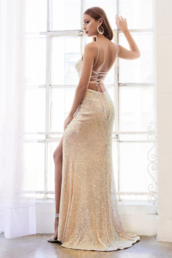 PHOEBE GOWN FITTED SEQUINED SHEATH GOWN WITH SLIT - KC Haute Couture Wedding Dress