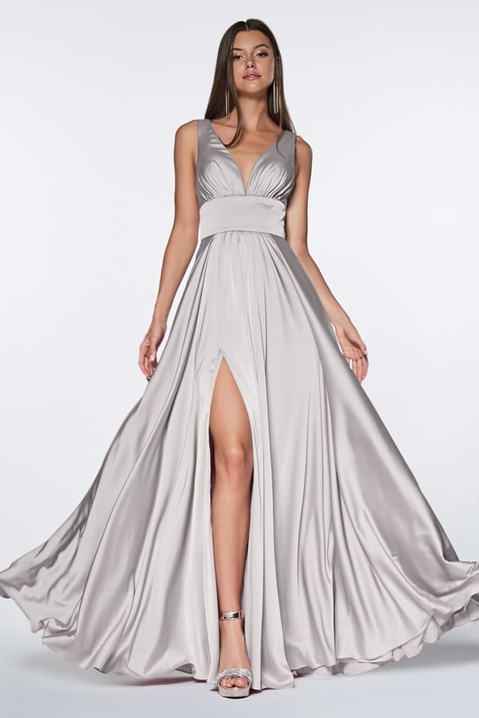 Satin flowy A-line dress with leg slit, open back and v-neckline - Light - KC Haute Couture Wedding Dress