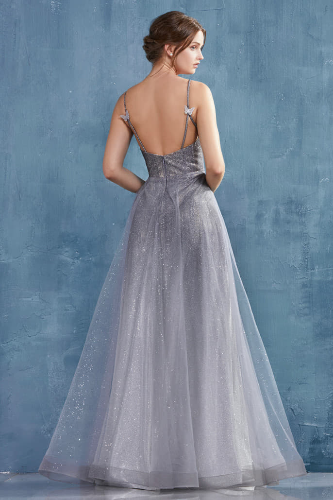 CATERINA GOWN A NIGHT SKY METALLIC OMBRE WITH GLITTER TULLE OVERLAY A-LINE GOWN - KC Haute Couture Wedding Dress