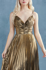 CLEOPATRA GOLD LEAF LAME PLEATED A-LINE EVENING GOWN - KC Haute Couture Wedding Dress