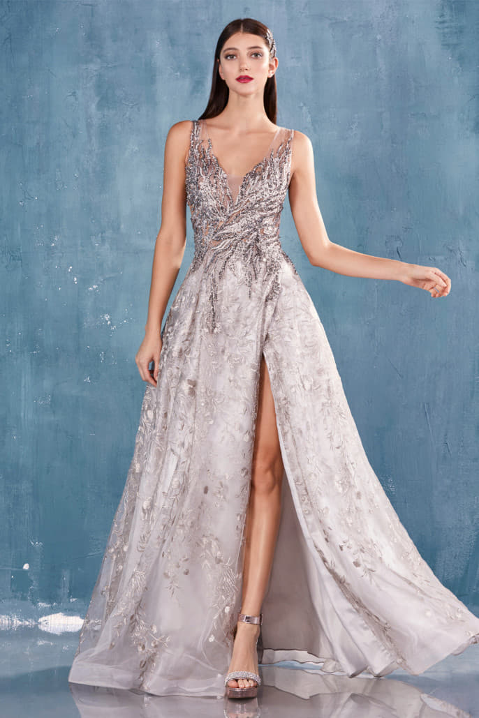 KRYSTINE GOWN BEADED V-NECK LACE BALL GOWN WITH PLEATED LEG SLIT - KC Haute Couture Wedding Dress