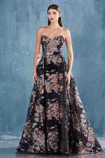 EFFIE GOWN STRAPLESS SHEATH METALLIC PRINT GOWN WITH AN OVERSKIRT - KC Haute Couture Wedding Dress