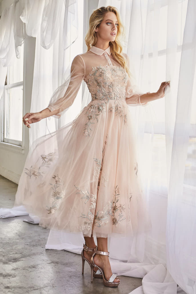 DUCHESA DRESS LONG SLEEVE TULLE EMBROIDERED LACE COCKTAIL GOWN - KC Haute Couture Wedding Dress