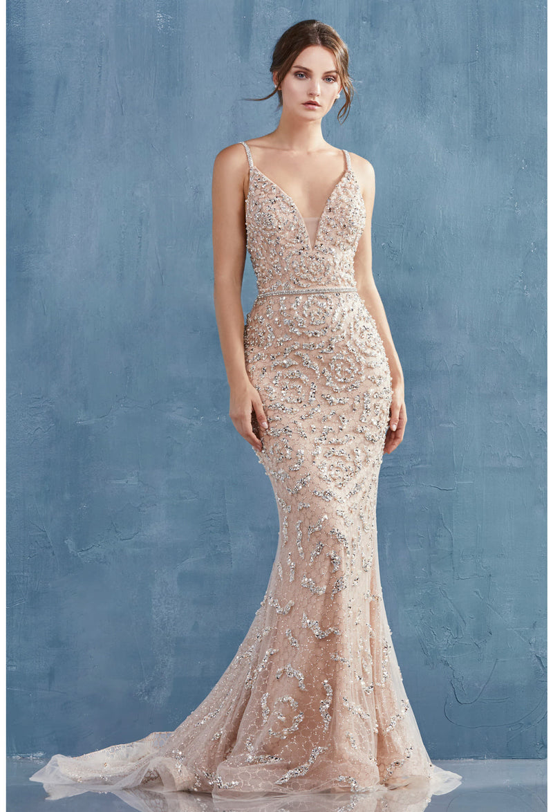 FLORA GOWN FULLY BEADED V-NECKLINE FIT AND FLARE COLOR WEDDING & EVENING GOWN - KC Haute Couture Wedding Dress