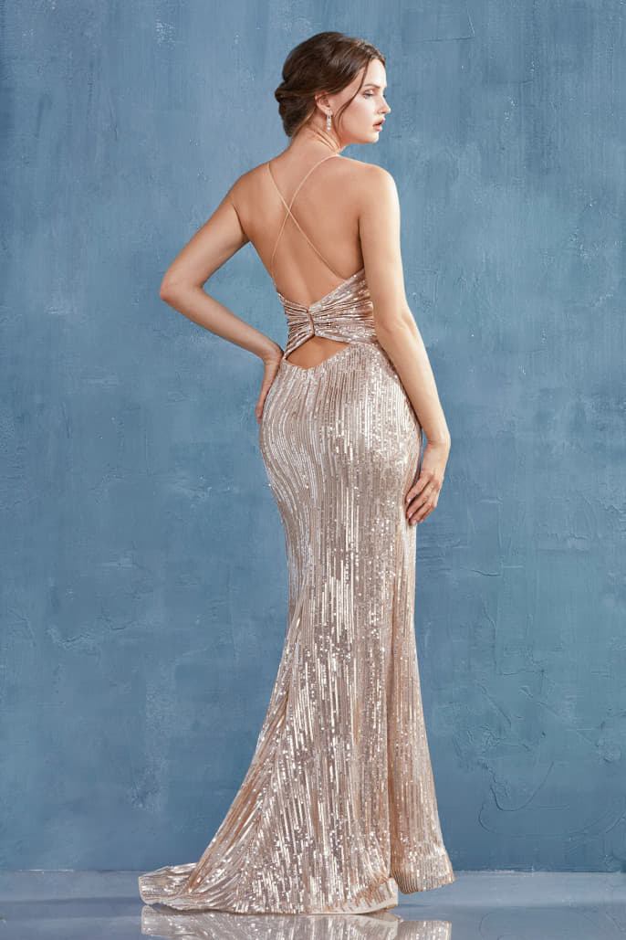 THALIA GOWN V NECK RUCHED SEQUIN GOWN - KC Haute Couture Wedding Dress