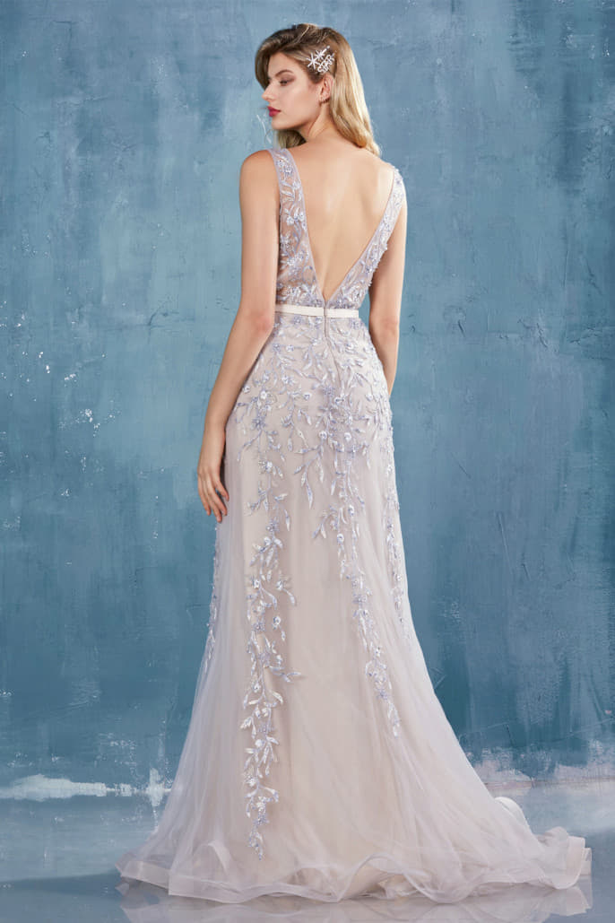EVELYN BEADED LACE V-NECK FIT AND FLARE GOWN WITH SLIT - KC Haute Couture Wedding Dress
