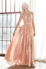 A-line metallic lame' dress with deep plunge neckline and leg slit -Lights - KC Haute Couture Wedding Dress