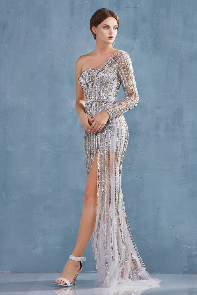 RITA GOWN MODERN ONE SLEEVE FULLY BEADED GOWN WITH A LEG SLIT - KC Haute Couture Wedding Dress
