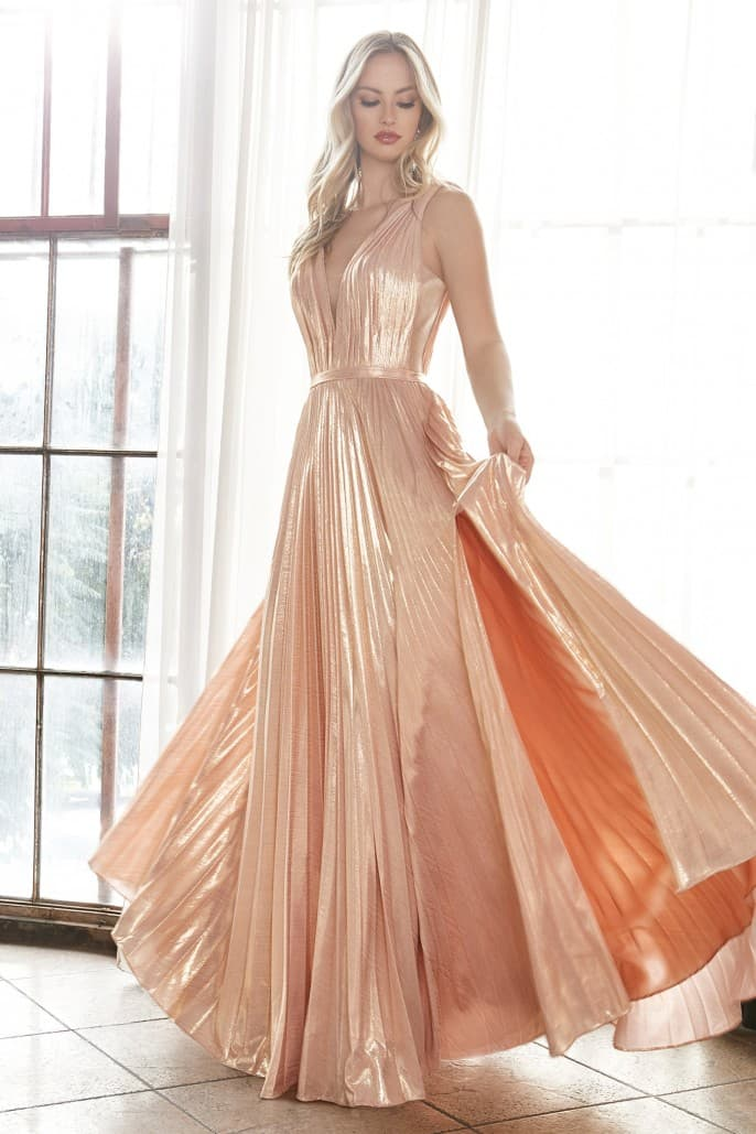 A-line metallic pleated gown with deep v-neckline and leg slit -Light - KC Haute Couture Wedding Dress