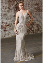 Savannah Fitted gown with embellished geometric details and deep sweetheart neckline - KC Haute Couture Wedding Dress