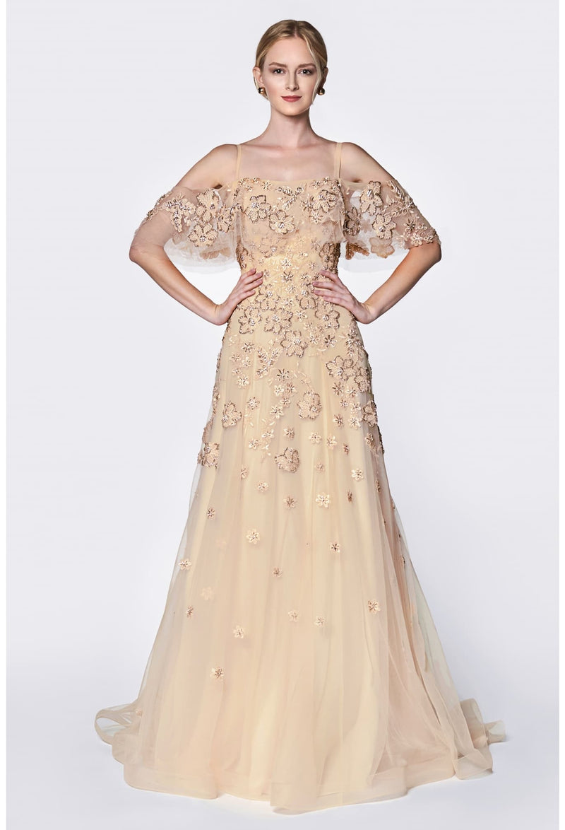 A-line off the shoulder flutter sleeve dress with beaded applique and layered tulle - KC Haute Couture Wedding Dress