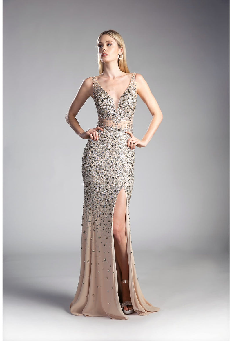 Fitted beaded gown with leg slit and v-neckline - KC Haute Couture Wedding Dress
