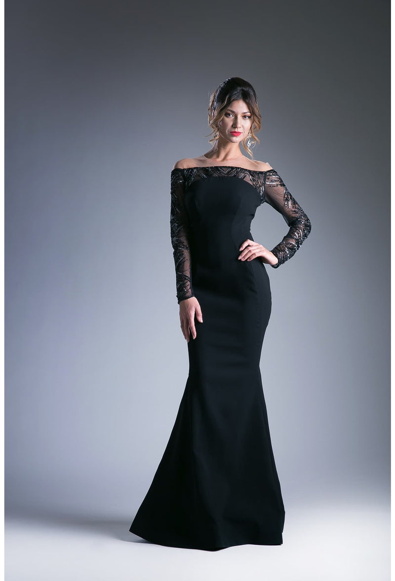 Off the Shoulder Long Sleeve Mother of the Bride Satin Sheath Dress - KC Haute Couture Wedding Dress