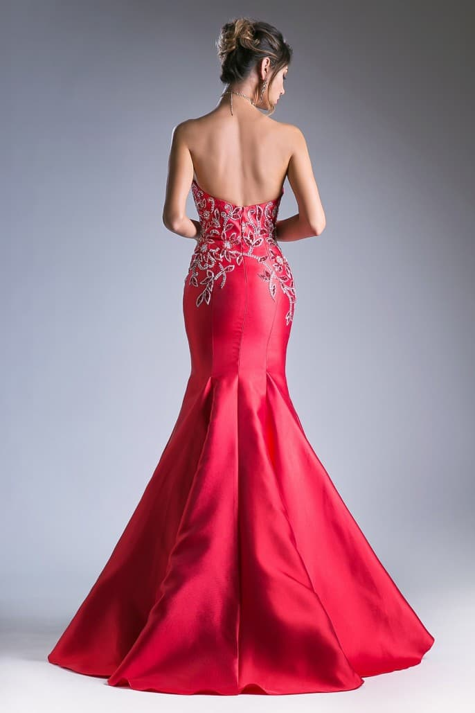 Red Strapless Fit & Flare Beaded Satin Mermaid Gown - KC Haute Couture Wedding Dress
