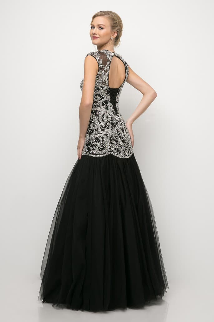 Luxury Hand-Beaded Novelty Black Fit & Flare Mermaid Dress - KC Haute Couture Wedding Dress