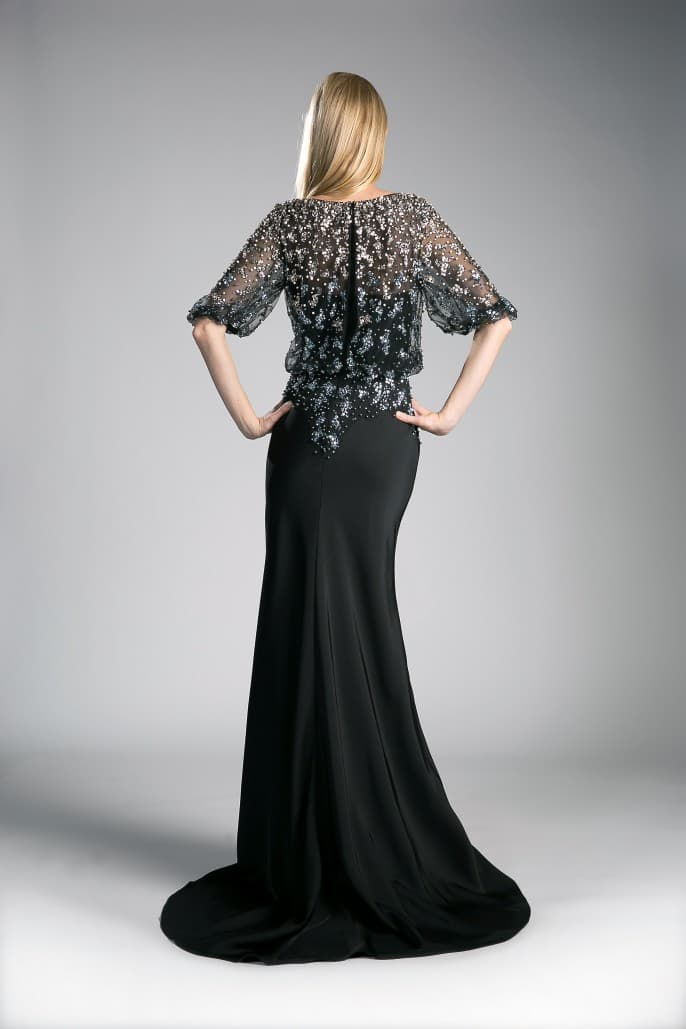 Hand- Beaded Sateen Black Mother of the Bride Sheath Dress - KC Haute Couture Wedding Dress