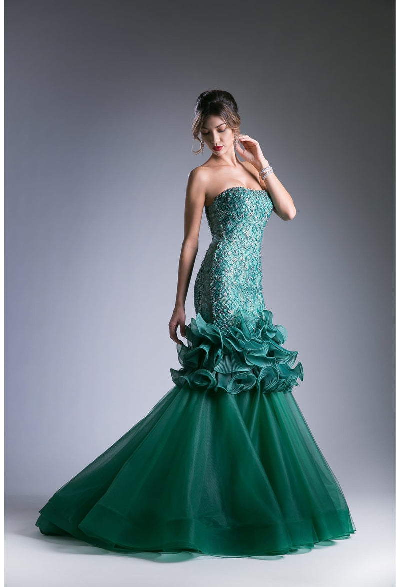 Melody Emerald Green Princess Luxury Hand-Beaded Novelty Mermaid Dress - KC Haute Couture Wedding Dress