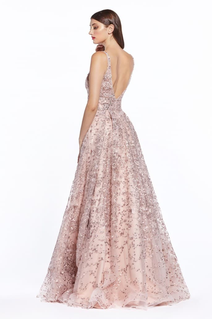 A-line gown with floral print embroidery and double belted waist - KC Haute Couture Wedding Dress