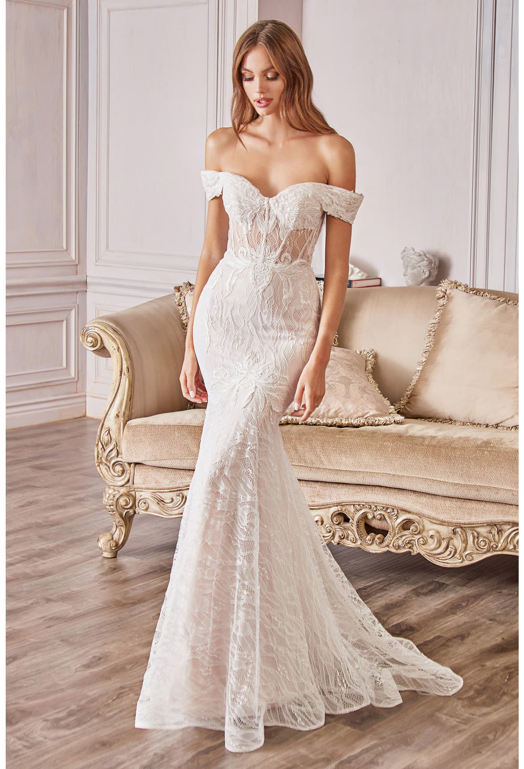 LIZ LACE OFF THE SHOULDER MERMAID GOWN - KC Haute Couture Wedding Dress