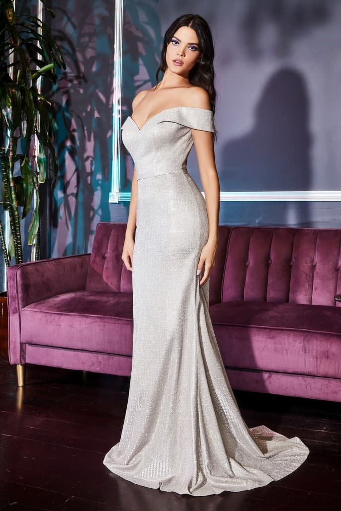 Off the shoulder gown with metallic finish and sweetheart neckline. - KC Haute Couture Wedding Dress
