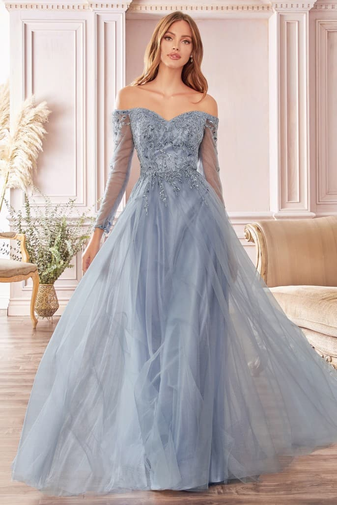 A-line off the shoulder layered tulle gown with floral beaded bodice - KC Haute Couture Wedding Dress