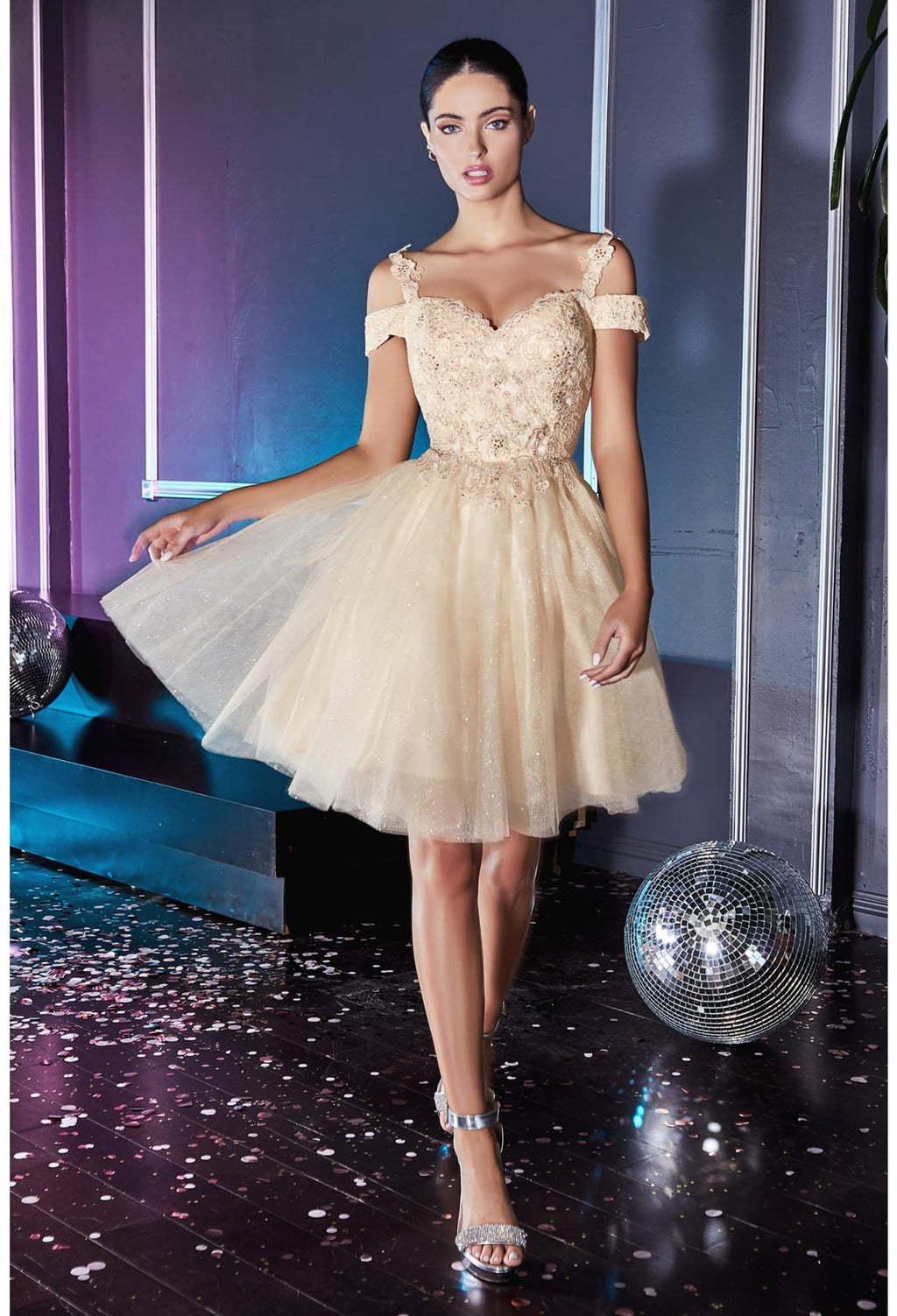 Short cocktail dress with off the shoulder lace detail and glitter tulle skirt - KC Haute Couture Wedding Dress
