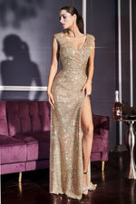 Fitted sequin evening gown with gathered waistline, weaved v-neckline, cap sleeves and leg slit - KC Haute Couture Wedding Dress