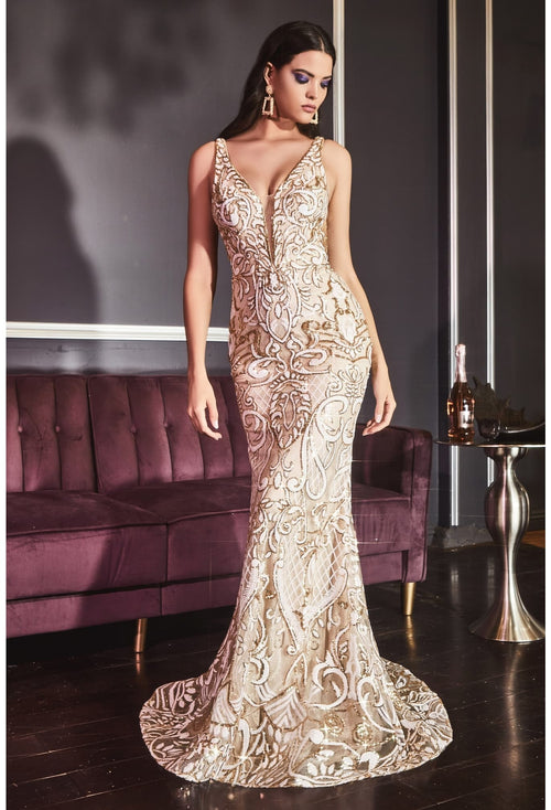 Fitted mermaid gown with all-over patterned beaded embellishment and deep illusion v-neckline - KC Haute Couture Wedding Dress