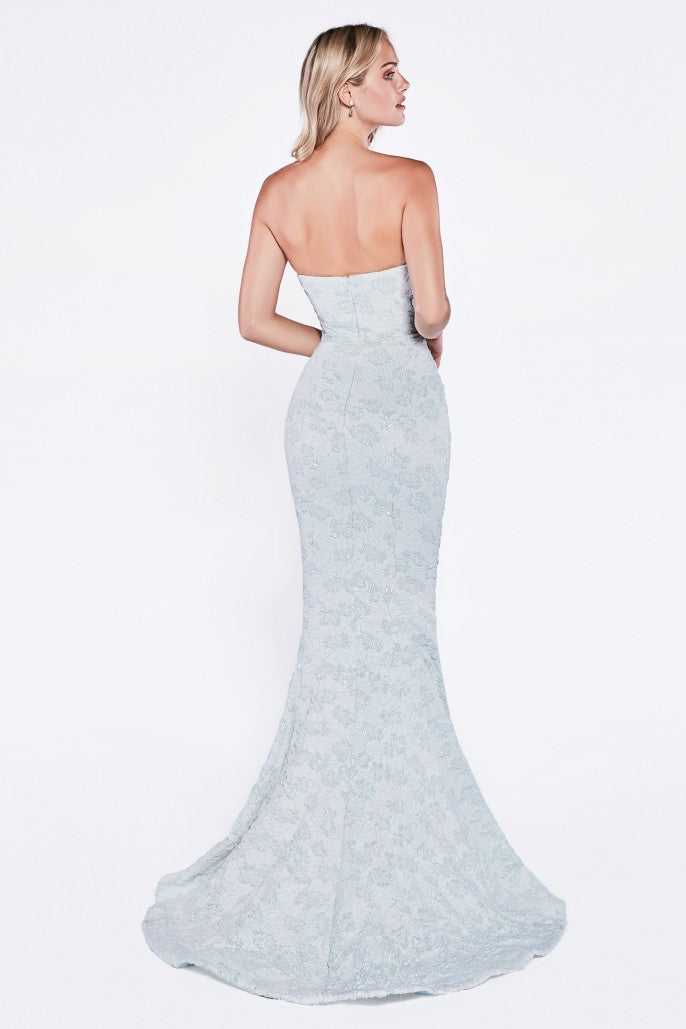 Strapless mermaid gown with sweetheart neckline and textured print fabric. - KC Haute Couture Wedding Dress