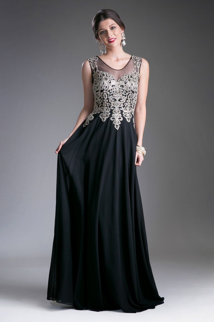 A-line chiffon gown with lace embellished bodice