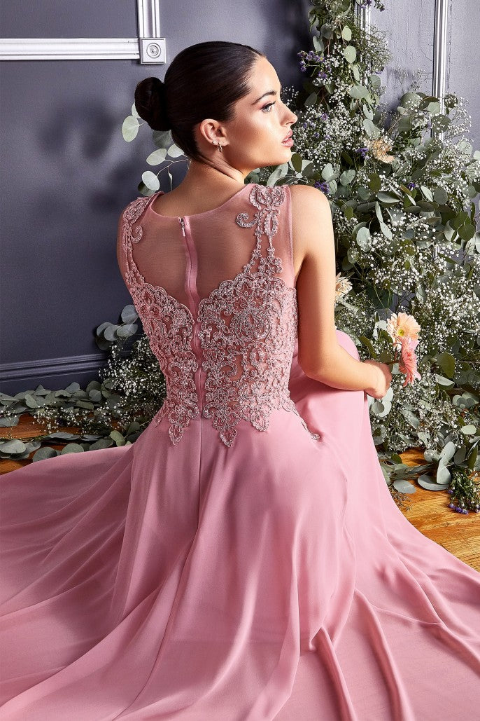 A-line chiffon gown with lace embellished bodice - KC Haute Couture Wedding Dress