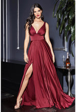 Satin flowy A-line dress with leg slit, open back and v-neckline - Dark - KC Haute Couture Wedding Dress