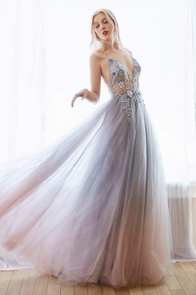 DAPHNE SMOKY BLUE DREAMER 3D FLORAL AND BEADED V-NECK OMBRE TULLE GOWN - KC Haute Couture Wedding Dress