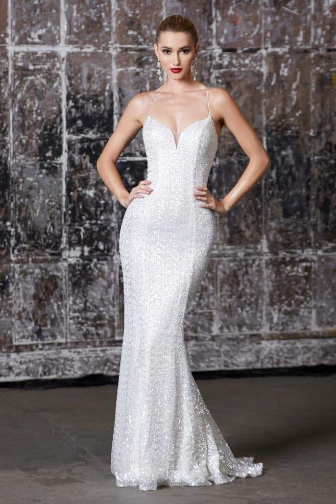 Naye, Fitted iridescent sequin gown with lace up back and deep sweetheart neckline - KC Haute Couture Wedding Dress