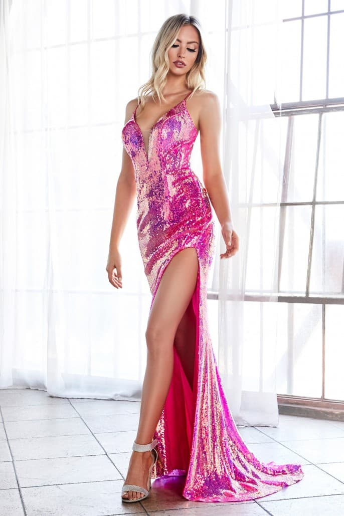 Fitted sexy sequin gown with iridescent finish and lace up back - KC Haute Couture Wedding Dress