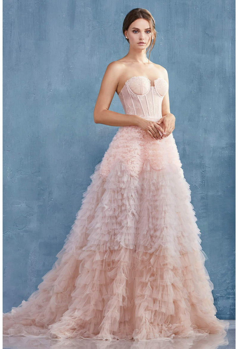 Eva Strapless Faux lace corset with a ruffle ombre ball gown - KC Haute Couture Wedding Dress