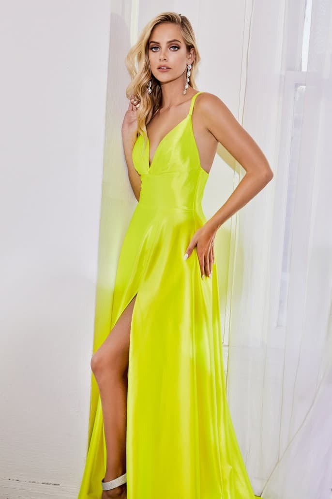 Satin a-line dress with pleated bodice and leg slit - Neon - KC Haute Couture Wedding Dress