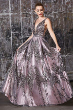 A-line layered dress with glitter floral details and embellished belt - KC Haute Couture Wedding Dress